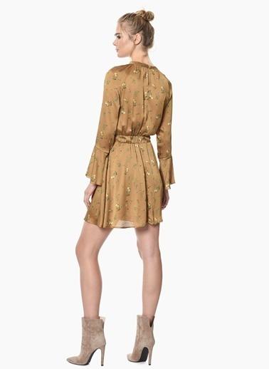 NetWork Uzun Kollu Çiçekli Mini Elbise Hardal